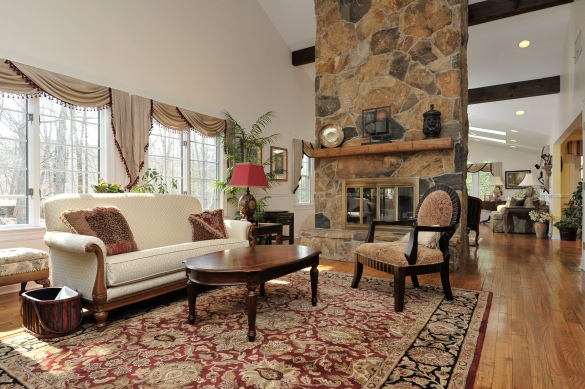 Pound Ridge living room with fireplace | Pound Ridge Real Estate